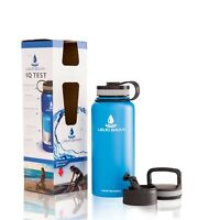 32 oz Insulated Water Bottle with 3 lids - Stainless Steel, Wide Mouth Double...
