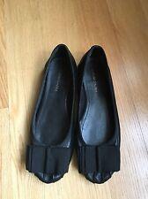 BCBG MAX AZRIA Women's Gorgeous Black Leather Flats Size 36.5 Medium Satin Bow