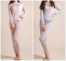 100% Pure Knit Silk Women's Long Johns Warm Thermal Underwear Pajama Set M L XL