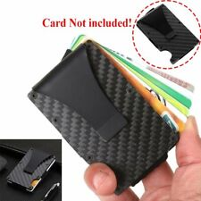 Slim Carbon Fiber Credit Card Holder RFID Blocking Metal Wallet Money Clip Case