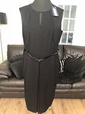 M&S Black Shift Dress With Belt Work Office Wear Size 20 Long BNWT