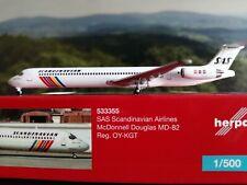 "Herpa Wings 1:500 533355  SAS Scandinavian Airlines McDonnell Douglas MD-82 ""Hak"