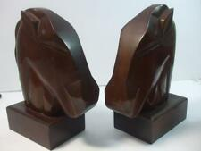 """Retro Mahogany Wood Horse Heads Bookends Midcentury Modern Smooth Lines 9.5"""" H"""