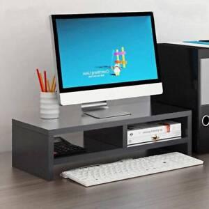 Black 2 Tier Computer Desktop Monitor Stand Laptop TV Display Screen Riser Shelf
