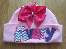 PERSONALIZED MONOGRAM CUSTOM Baby Infant Newborn Chevron Hospital Beanie Cap Hat