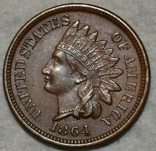 AU-UNC 1864 Indian Head Cent, Sharp, lustrous specimen