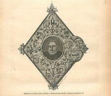 Cadre Verre émaillé Collection de la Voûte verte à Dresde GRAVURE OLD PRINT 1879