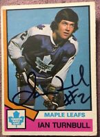 1974-75 OPC SIGNED/AUTOGRAPHED #289 IAN TURNBULL ROOKIE CARD