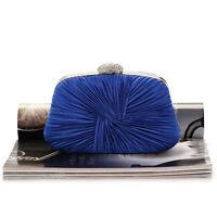 Womens New Elegant Fold Crystal Rhinestone Evening Clutch Bag Handbag Purse