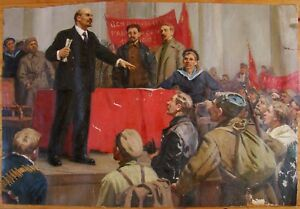 Russian Ukrainian Soviet oil painting Lenin people realism action meeting