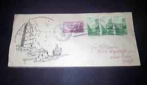 1934 USS NAVY BLACK HAWK BATTLE SHIP - Envelope 3 Block YOSEMITE 1 CENT STAMP