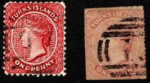 "TURKS ISLANDS QV 1873 BRWN-ROSE [CAT VAL$46] & 1881 USED BRICK RED WMK ""CA""[$93]"