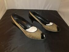 Womens Shoes Size 10 B Pancaldi Black & Tan Slip On Pumps With Open Toe Front