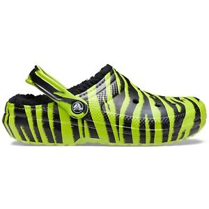 Crocs Classic Lined Animal Print Clog - Lime Punch/Black