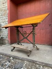1900s K And E American Eagle Cast Iron Cranking Drafting Table Industrial Desk