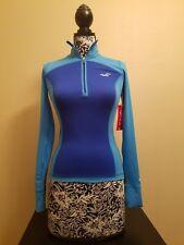 Hollister Sport BLUE slimming half zip running Open Back Sexy track JACKET XS