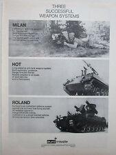 3/1974 PUB EUROMISSILE MILAN HOT ROLAND AEROSPATIALE MBB ARMEE BUNDESWEHR AD