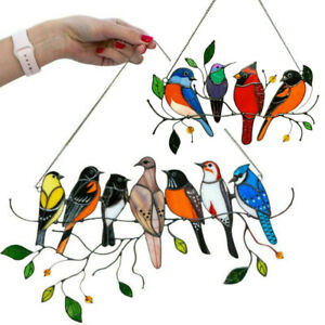 Stained Glass Birds-On-A-Wire Home Room Window Panel Hanging Suncatcher Ornament