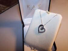 NEW KAY JEWELERS BLUE AND WHITE DIAMONDS OPEN HEART  STERLING SILVER PENDANT & C