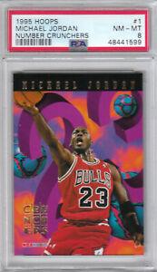 1995 Hoops NBA Bulls Michael Jordan Number Crunchers Card #1 PSA 8 NM-MT (1599)