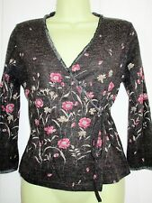 V Neck Floral Wrap Tops for Women