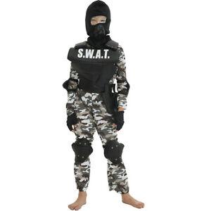 Boys SWAT Team Commander Police Cop Fancy Dress Costume Kids Outfit