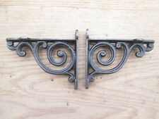 PAIR of antique Scroll swirl style cast iron shelf bracket wall mounted