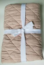 NEW Pottery Barn Belgian Flax Linen Diamond Quilted KING Sham ~ Soft Rose