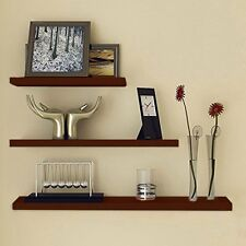 Brown Floating Wall Shelf Home Deco Bookshelf Display Storage With Coat Hook