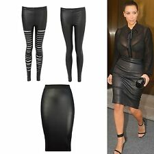 Ladies Women Wetlook Pencil High Waist Tube Wiggle Party Skirt Legging Size 8-22