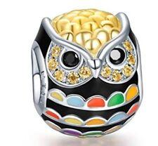Singing Owl Bird Sterling Silver Gold Plated European Charm for Pandöra Bracelet