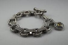 "Judith Ripka 925 Sterling Silver Citrine Heart Enhancer Charm Toggle Bracelet 8"""