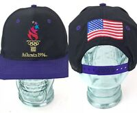 Vtg 90s Atlanta 1996 Olympics Snapback Hat By Logo 7 Purple Black USA Flag Cap