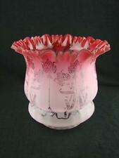 STUNNING ANTIQUE CRANBERRY GLASS OIL LAMP SHADE ETCHED & ART NOUVEAU DECORATION