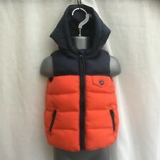 BABY BOYS ORANGE  & NAVY BLUE PADDED HOODED LIGHTWEIGHT GILET - AGE 0-3 MONTHS