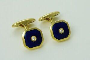 18K YELLOW GOLD DIAMOND & BLUE ENAMEL CUFFLINKS hexagon