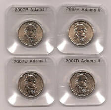 FOUR PC 2007 P & D TYPE I & II ADAMS PRESIDENTIAL DOLLARS  IN COIN EDGE HOLDERS