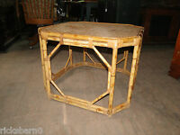 MID CENTURY   BAMBOO  AND  RATTAN  TABLE