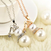 1PC Women Jewelry Gift Snowman Crystal Christmas Long Necklace Pendant Chokers