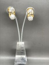 Crystal Diamante Clip Earrings Lovely Vintage 1980's Gold-Plated