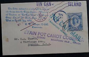 1936 Tonga Tin Can Canoe Mail  Cover ties 2 1/2d stamp canc Niuafo'ou