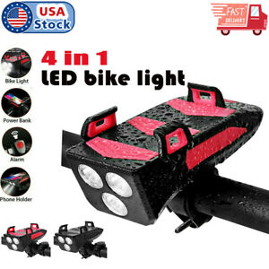 4 in1 Bicycle Bike Phone Bracket USB Charging Rack Holder Headlight Front Light