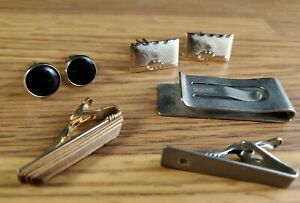 Vintage lot of cufflinks & clips including Gold Tone Swank wooden Money Clip