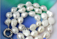 """New huge Baroque 14x16mm WHITE FRESHWATER CULTURED PEARL NECKLACE 18"""" AAA"""