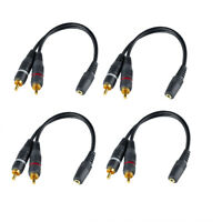 4x  3.5mm 1 Female to 2 Dual RCA Male Y Splitter Audio Stereo Aux Cable Adapter