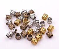20/50/100Pcs Antique Tibetan Silver Big Hole Spacer Beads 5MM Hole SH3020