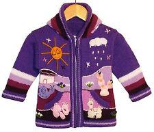 Baby Strickjacke Lila violett rosa Gr.80*86 Kapuze Bauernhof Alpaka Peru Tiere