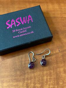 Amethyst Purple Stones Drop Sterling Silver 925 Pierced EARRINGS