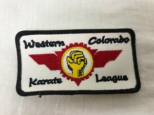 Western Colorado Karate League Sew on Patch Gold White Embroidered