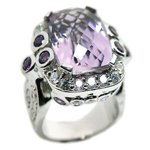 De Buman Sterling Silver 13.04ct. Baguette Elegant Amethyst Ring, Size 7.75
